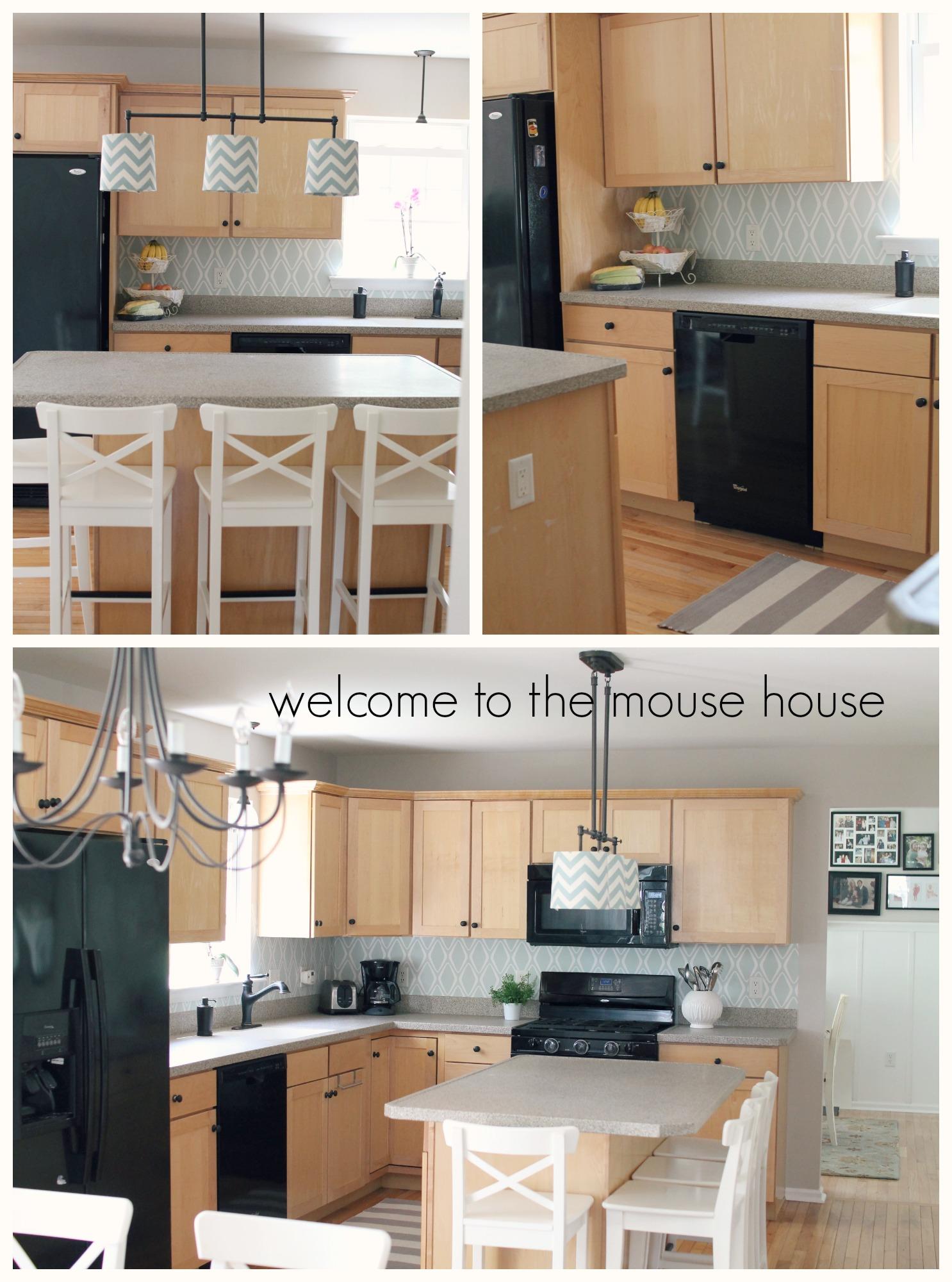 - Easy Kitchen Backsplash: $30 Target Wallpaper